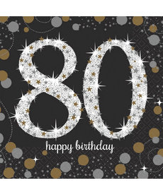 Beverage Napkins: Sparkling Celebration - 80th Birthday