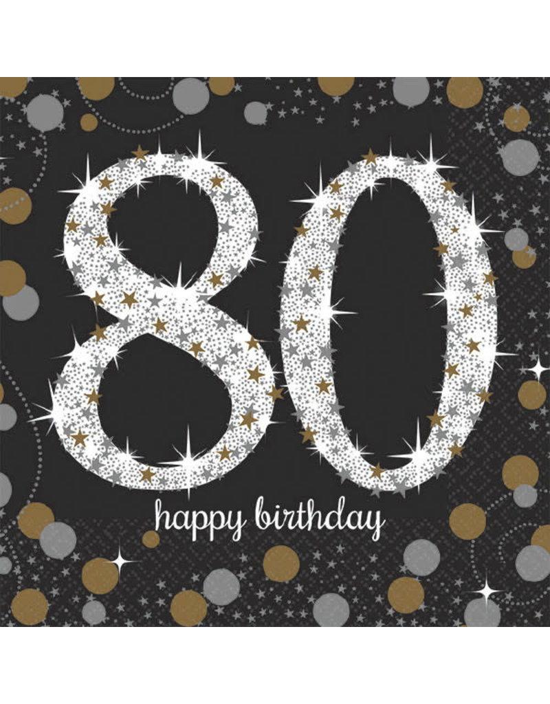 Beverage Napkins: Sparkling Celebration - 80th Birthday
