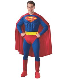 Rubies Costumes Men's Deluxe Superman Costume with Muscle Chest