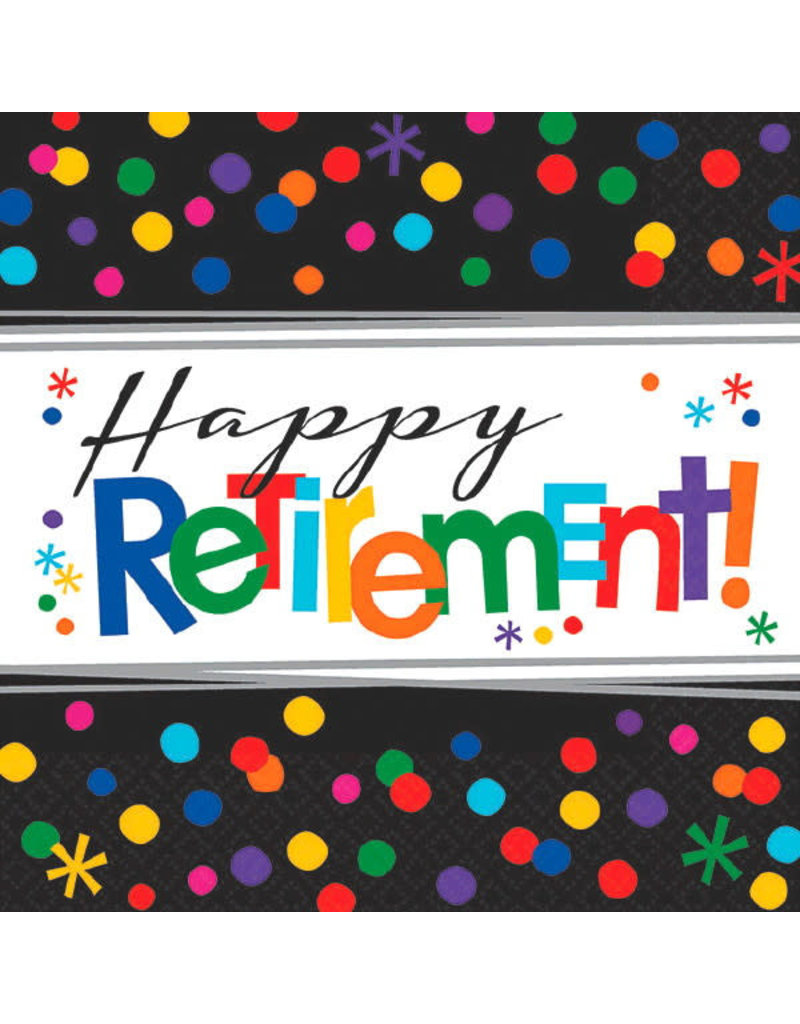 """Beverage Napkins: Officially Retired - """"Happy Retirement!"""""""