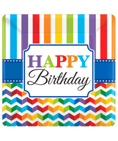 "10"" Square Plates: Bright Birthday - ""Happy Birthday"""