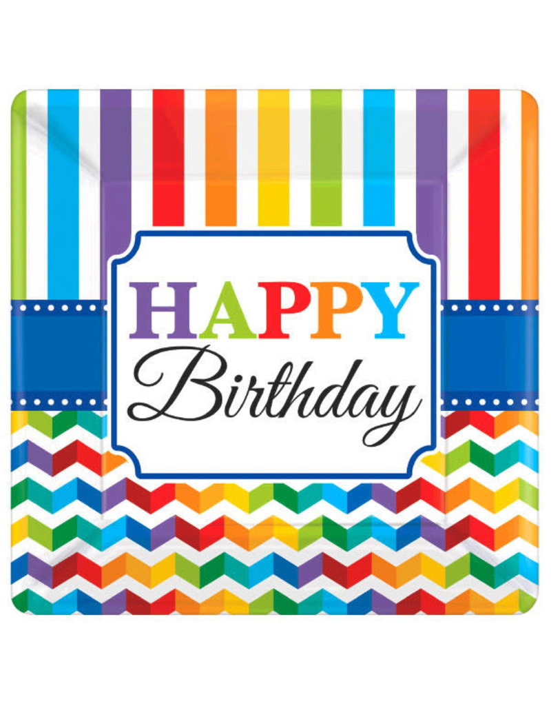 "10"" Square Plates: Bright Birthday - ""Happy Birthday"" (8ct.)"