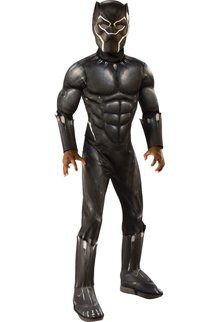 Rubies Costumes Boy's Black Panther Costume with Muscle Chest