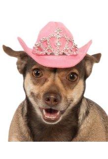 Rubies Costumes Cowboy Pet Hat with Tiara (Pink): Pet Costume