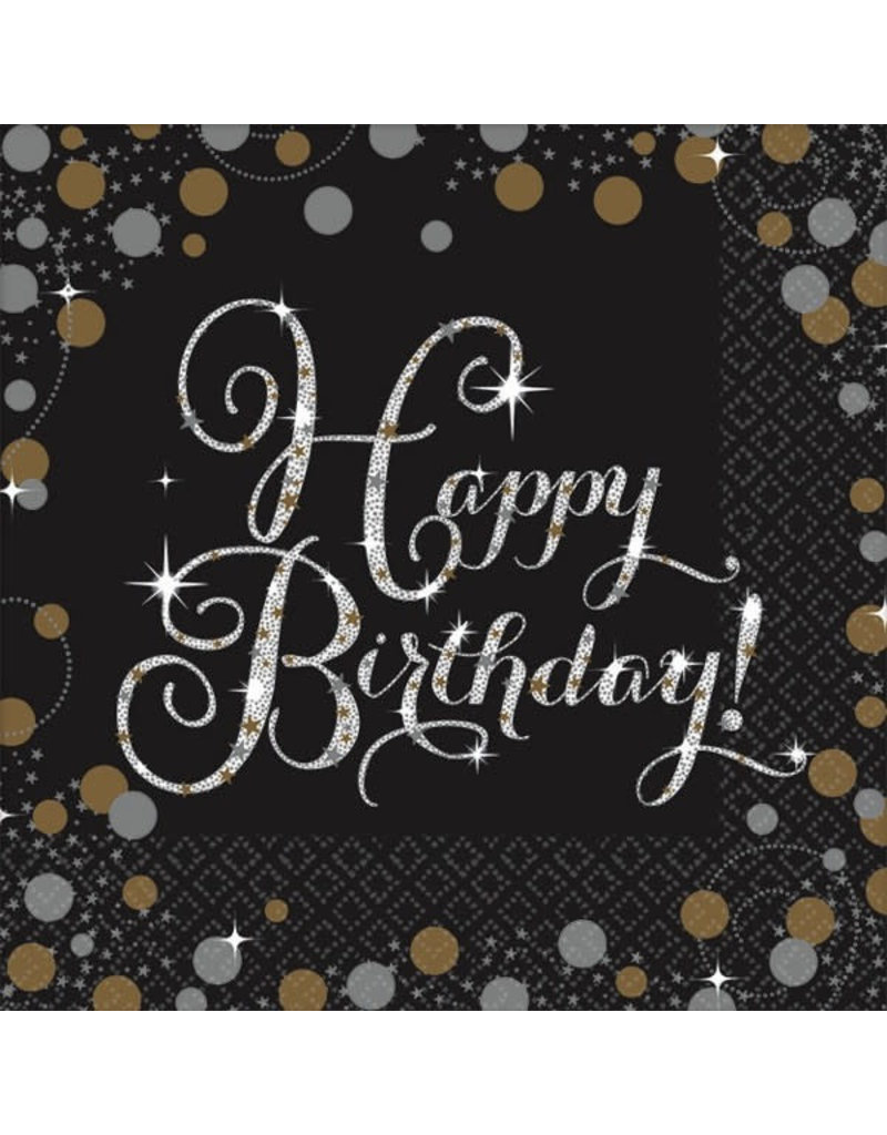 Beverage Napkins - Happy Birthday! Sparkling Celebration (16ct.)