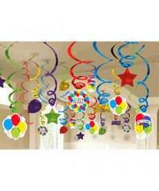 Foil Swirl Decorations - HBD Balloon Bash