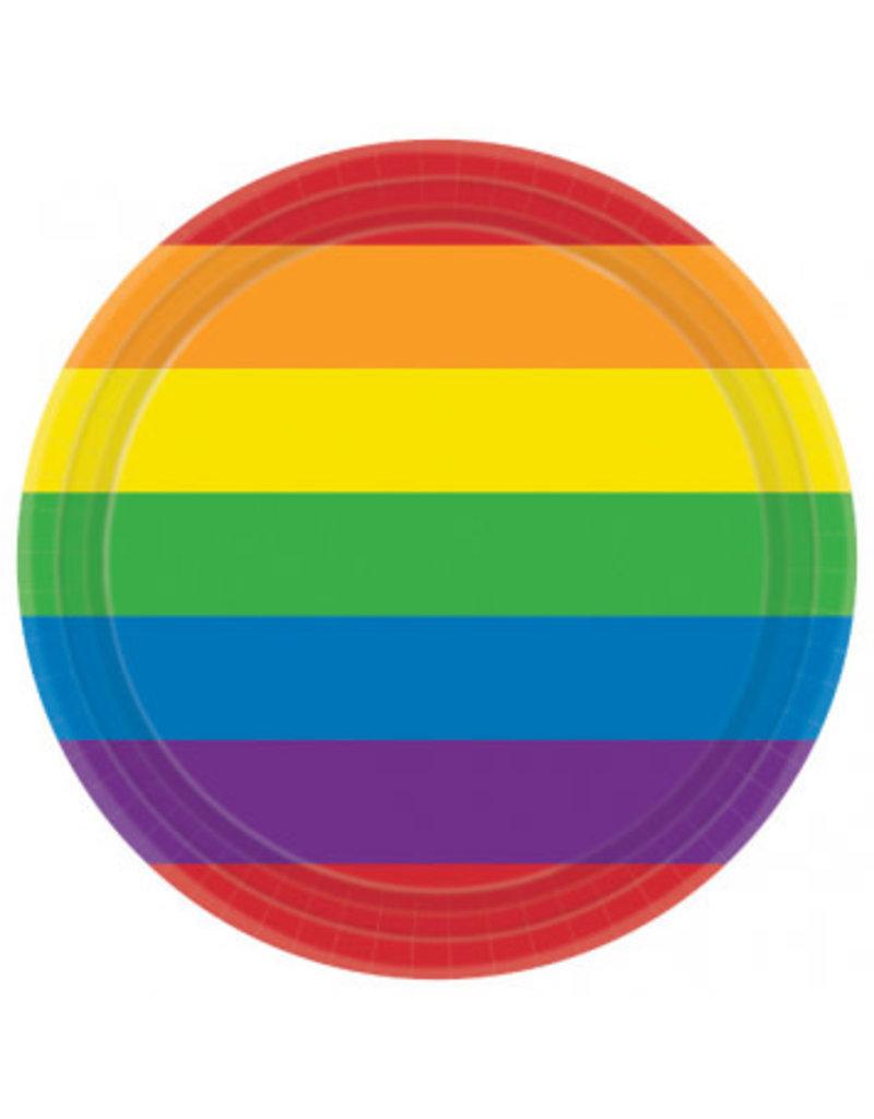 "7"" Round Plates: Rainbow (8ct)"