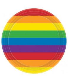 "9"" Round Plates: Rainbow (8ct)"