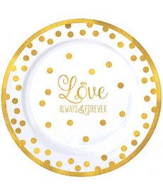 """7"""" Premium Plastic Plates - """"Love"""" (20ct.)"""