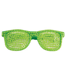 Neon Green Rhinestone Glasses
