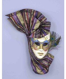 Mardi Gras Venetian Mask w/ Peacock Feathers