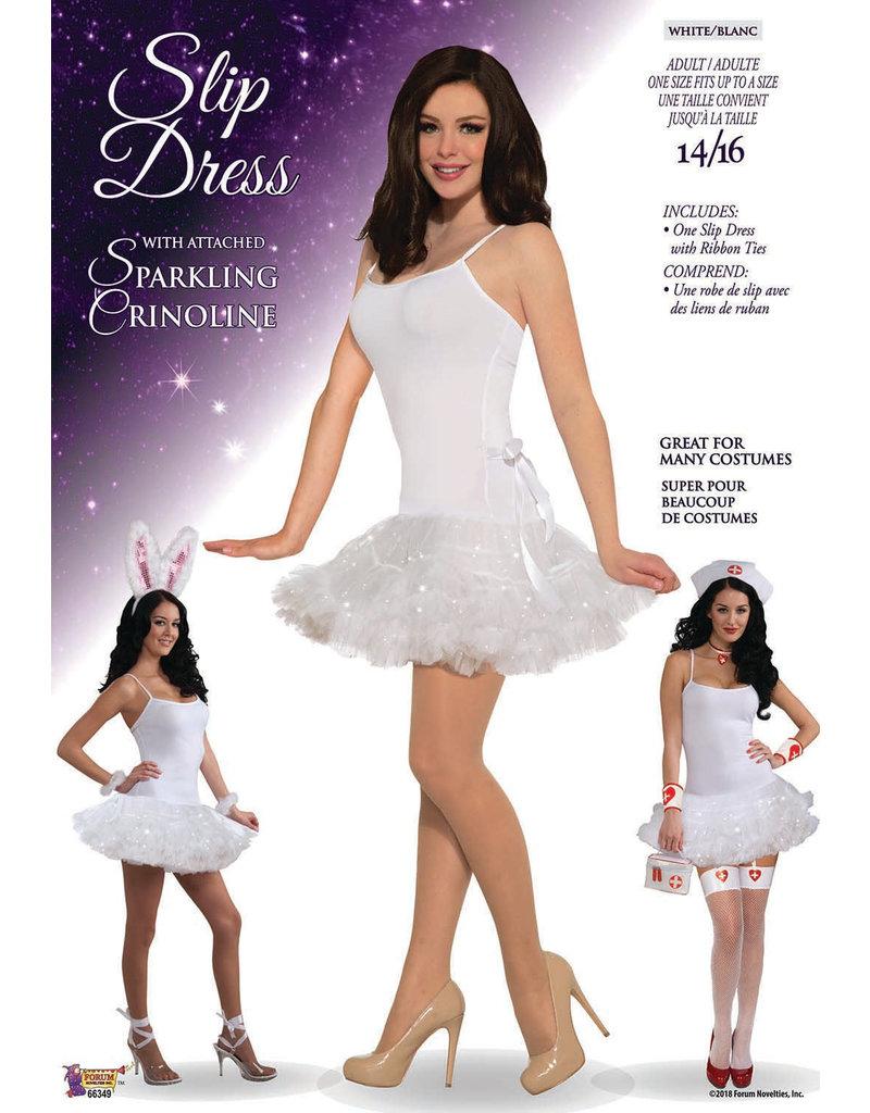 Black Slip Dress With Attached Crinoline Adult Costume