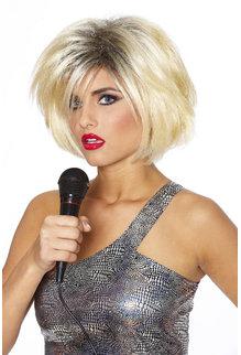 80's Diva Wig: Blonde w/ Black
