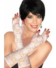 Long White Theatrical Lace Gloves