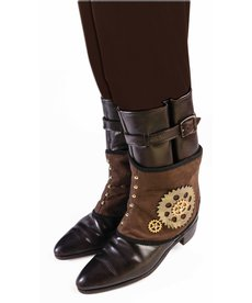 Steampunk Spats - Brown w/ Gears