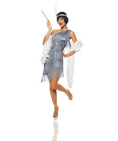 Women's Dazzling Sliver Flapper Dress