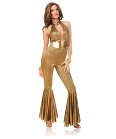 Women's Disco Diva Gold Jumpsuit