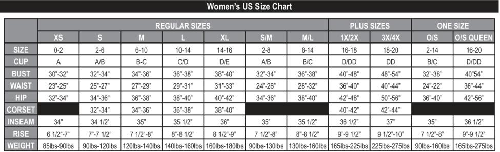 Dream Girl: Women's Size Chart