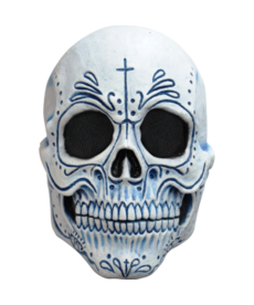 Mexican Catrina Mask: White w/ Blue