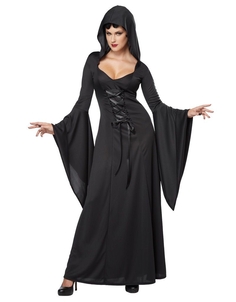 California Costumes Women's Deluxe Hooded Black Robe Costume