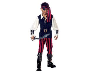 Cut Throat Pirate Men Costume Head Tie Boot Tops Belt Wrist Cuffs Shirt Pants
