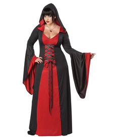 California Costumes Women's Plus Size Deluxe Hooded Red/Black Robe Costume