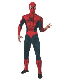 Rubies Costumes Men's Deluxe Spider-Man Costume with Muscle Chest