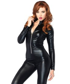 Leg Avenue Women's Wetlook Catsuit Costume with Zipper Front