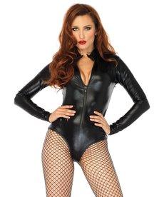 Leg Avenue Women's Wet Look Front Zipper Bodysuit