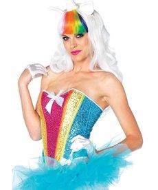 Leg Avenue Women's Rainbow Sequin Corset