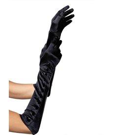 Leg Avenue Button Up Satin Gloves: Black