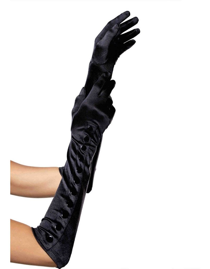Leg Avenue Button Up Satin Gloves: Black - Adult O/S