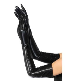 Leg Avenue Wet Look Zipper Gloves: Black