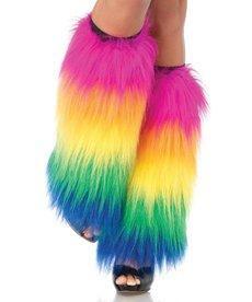 Leg Avenue Furry Leg Warmers: Rainbow