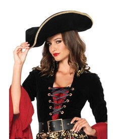 Leg Avenue Pirate Hat w/ Gold Trim: Black