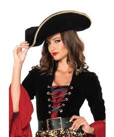Leg Avenue Pirate Hat w/ Gold Trim: Black
