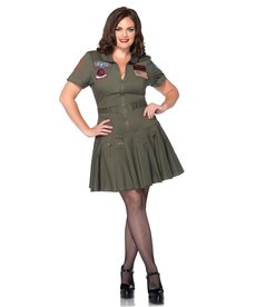 Leg Avenue Women's Plus Size Top Gun Flight Dress Costume