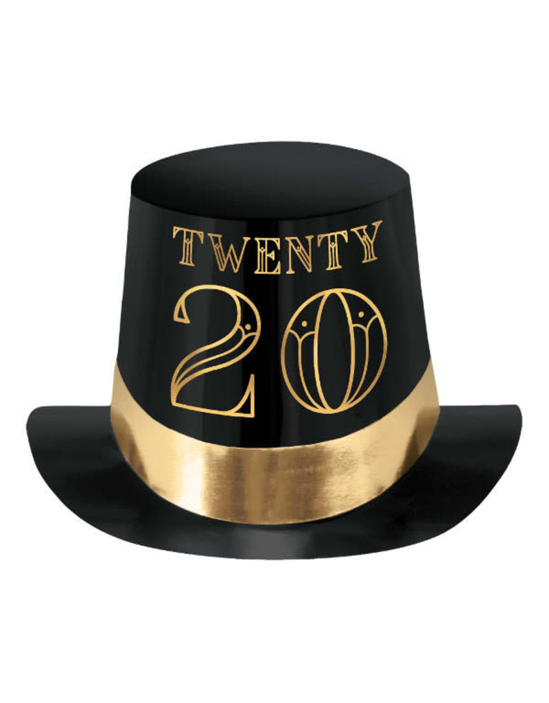 2020 Roaring New Year's Eve Foil Top Hat: Black/Gold