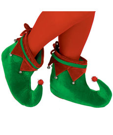 Christmas Elf Shoes: Red/Green - Adult Size