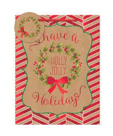Medium Vertical Bag: Kraft Holly Jolly Holiday