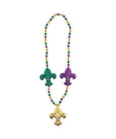 Mardi Gras Jumbo Fleur de Lis Necklace