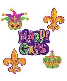 Amscan Mardi Gras Mini Glitter Paper Cutouts (10pk.)