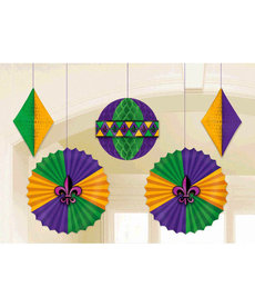 Amscan Mardi Gras Honeycomb & Fan Decor (5pk.)