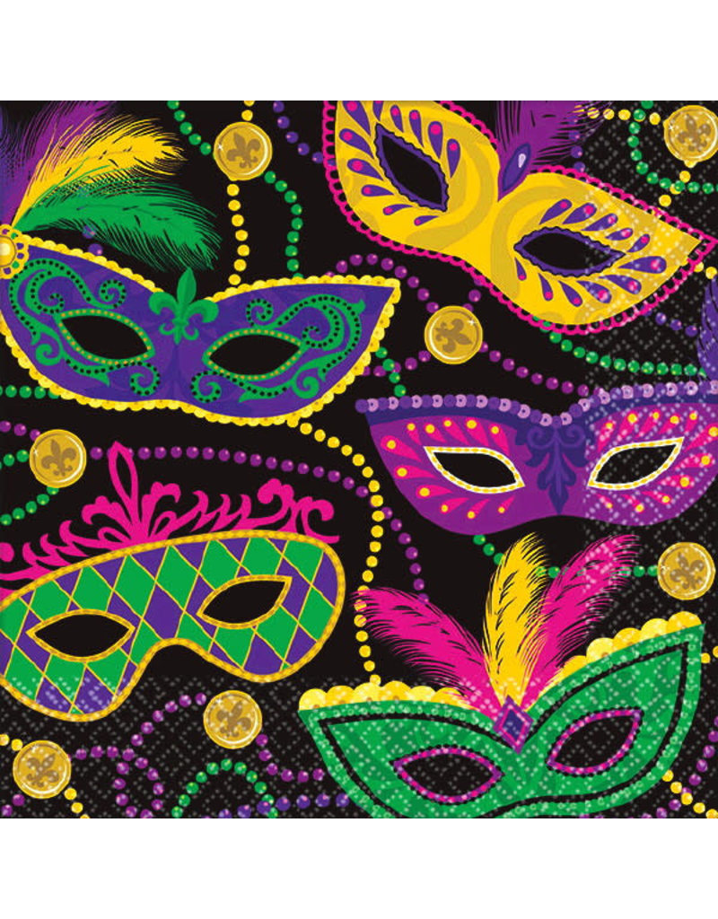 Beverage Napkins: Mardi Gras Masks (16ct.)