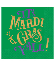 Amscan Beverage Napkins: It's Mardi Gras Y'all (16ct.)