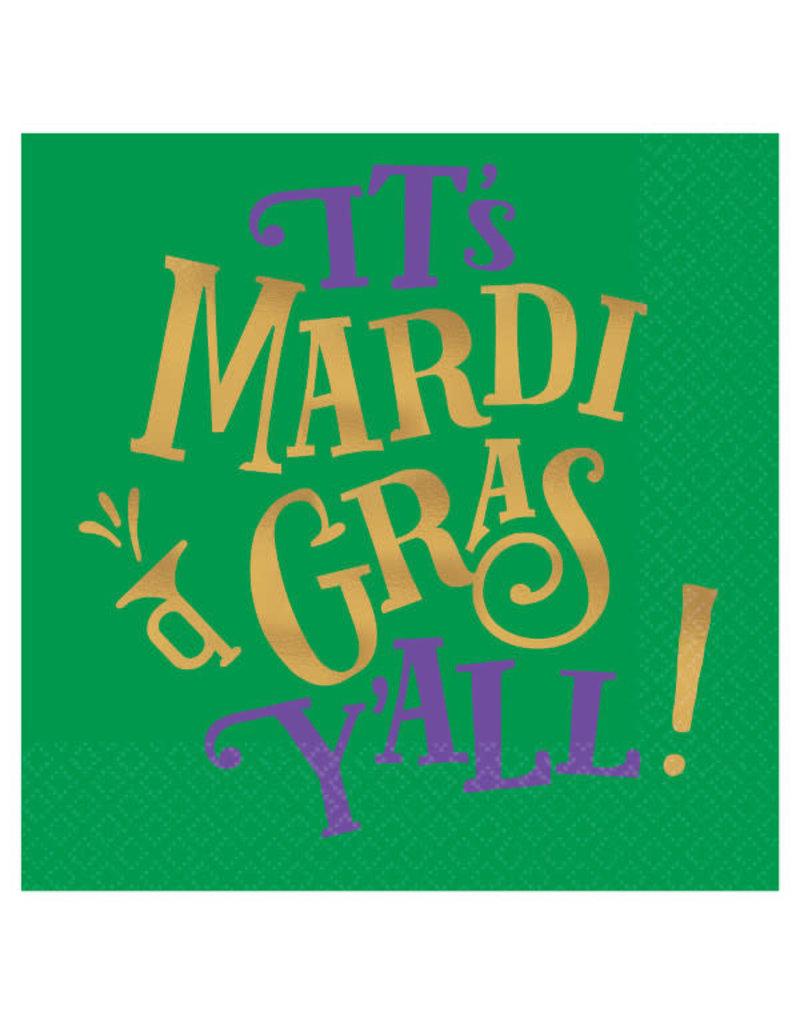 Amscan Beverage Napkins: It's Mardi Gras Y'all (16ct.)