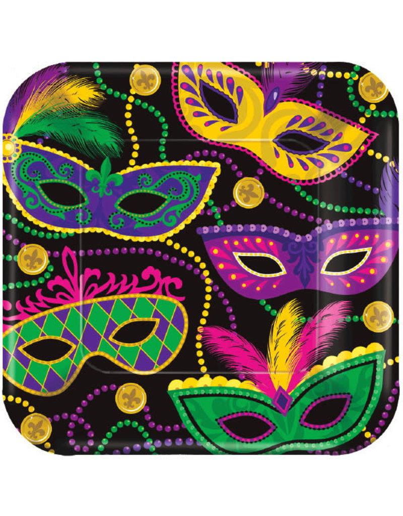 "7"" Square Plates: Mardi Gras Masks (8ct.)"