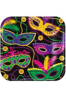 "10"" Square Plates: Mardi Gras Masks (8ct.)"