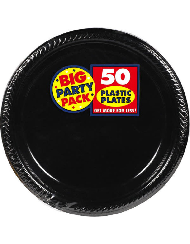 "Amscan 7"" Plate - Black (50ct.)"