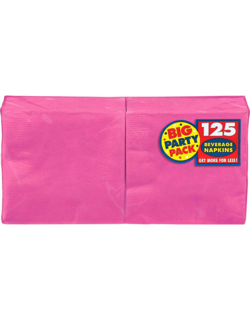 Beverage Napkins - Bright Pink (125ct.)
